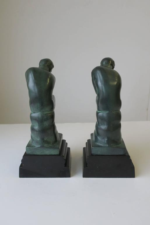Pair of Black and Green Male Sculpture Bookends For Sale 3