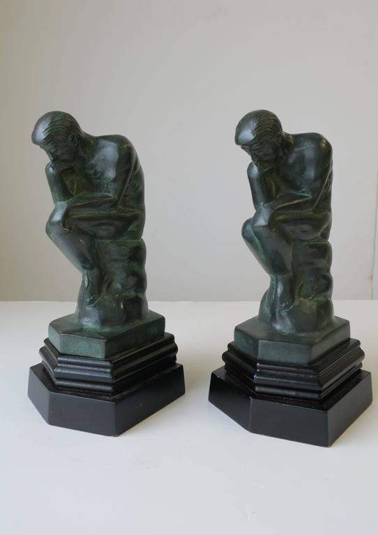 Pair of Black and Green Male Sculpture Bookends For Sale 2