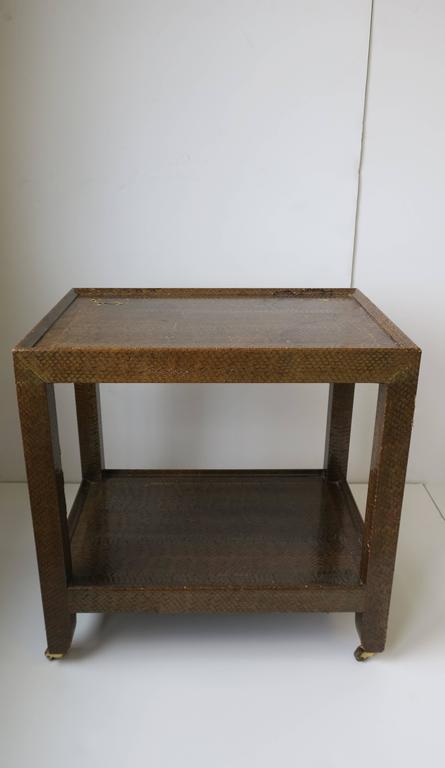 Karl Springer Postmodern Snakeskin and Brass Telephone Side or End Table, 1990 For Sale 1
