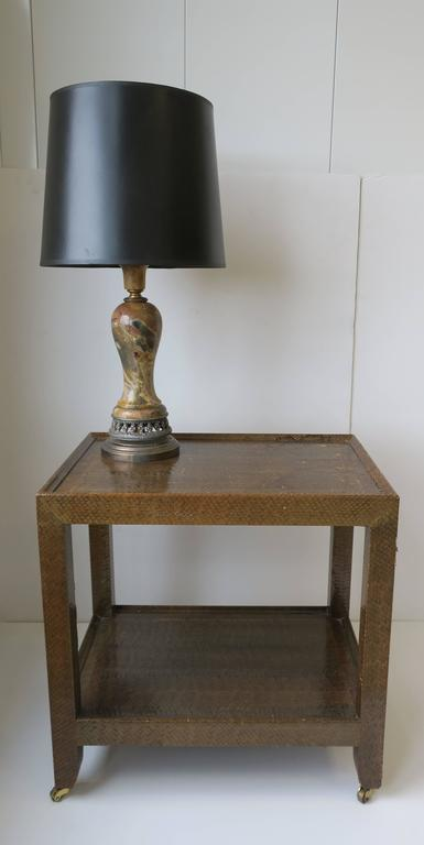 Karl Springer Postmodern Snakeskin and Brass Telephone Side or End Table, 1990 For Sale 2