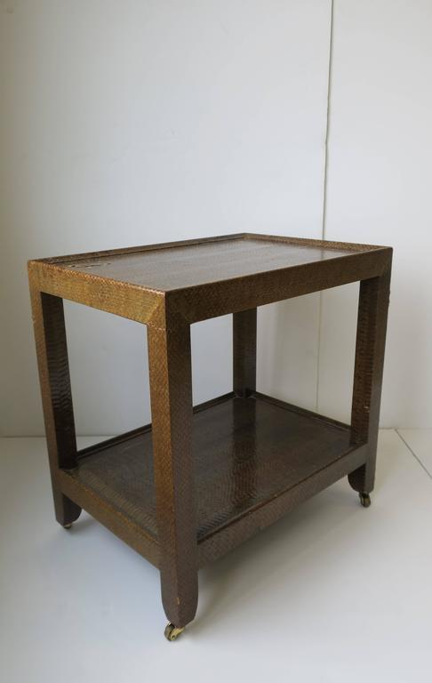 Karl Springer Postmodern Snakeskin and Brass Telephone Side or End Table, 1990 For Sale 6