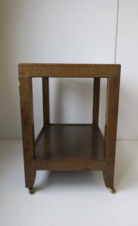 Karl Springer Postmodern Snakeskin and Brass Telephone Side or End Table, 1990 For Sale 7
