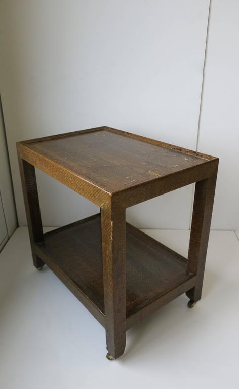 Karl Springer Postmodern Snakeskin and Brass Telephone Side or End Table, 1990 For Sale 8