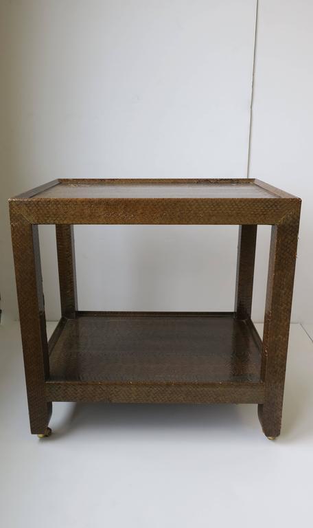 Karl Springer Postmodern Snakeskin and Brass Telephone Side or End Table, 1990 For Sale 9