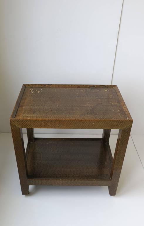 Karl Springer Postmodern Snakeskin and Brass Telephone Side or End Table, 1990 For Sale 10