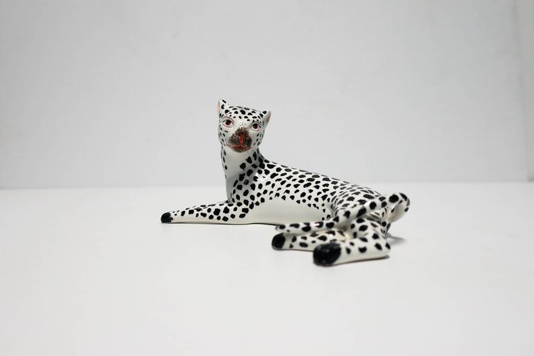 Glazed Italian Art Deco Black and White Cheetah Leopard Cat Sculpture For Sale
