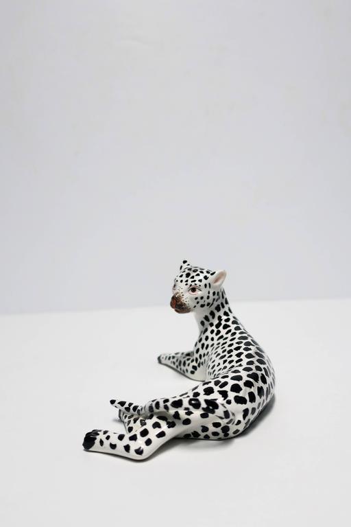 Porcelain Italian Art Deco Black and White Cheetah Leopard Cat Sculpture For Sale