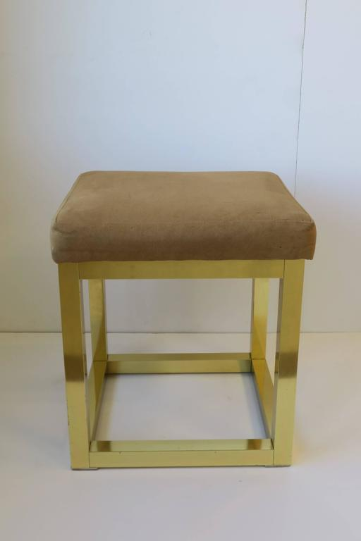 Plated 1970s Modern Brass Bench or Stool in the Style of Designer Paul Evans For Sale
