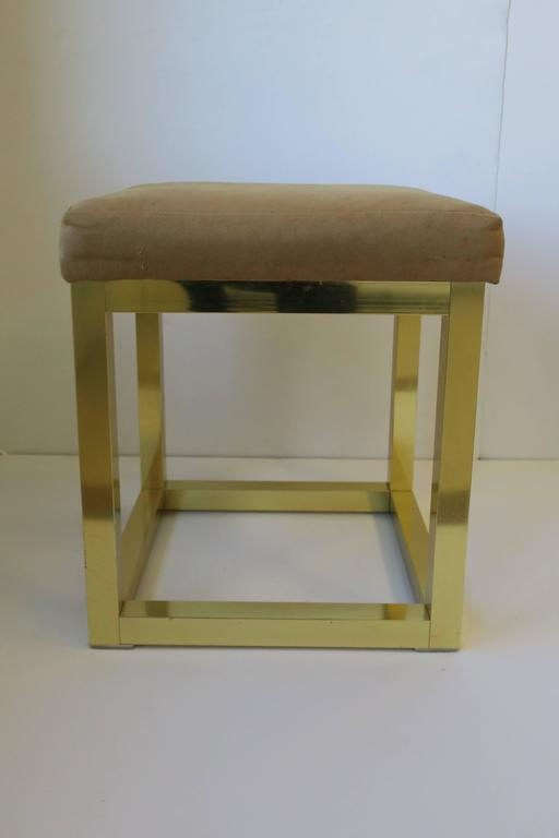 1970s Modern Brass Bench or Stool in the Style of Designer Paul Evans In Good Condition For Sale In New York, NY