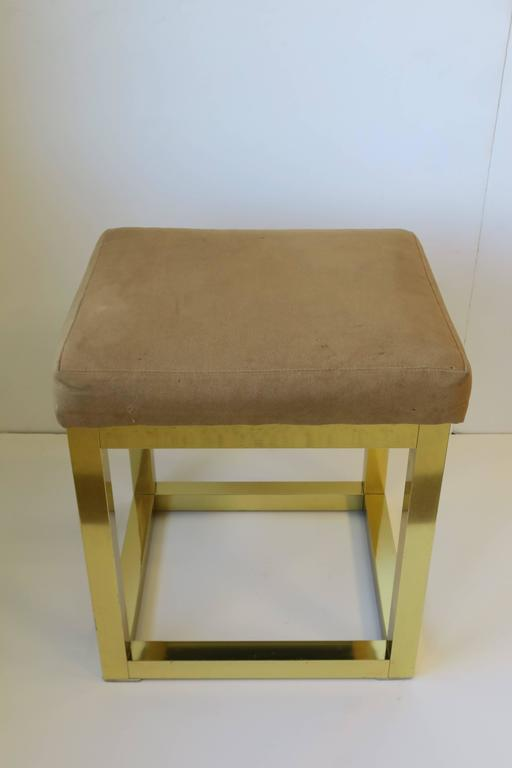 Late 20th Century 1970s Modern Brass Bench or Stool in the Style of Designer Paul Evans For Sale