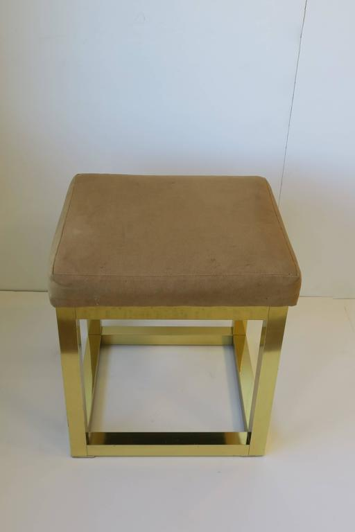 Upholstery 1970s Modern Brass Bench or Stool in the Style of Designer Paul Evans For Sale