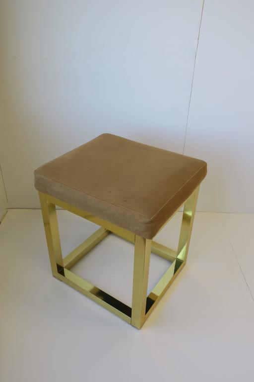 1970s Modern Brass Bench or Stool in the Style of Designer Paul Evans For Sale 3