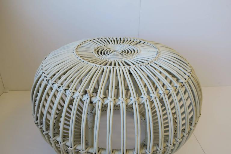 Wicker Vintage Midcentury Round White Rattan Stool or Side Table by Franco Albini For Sale