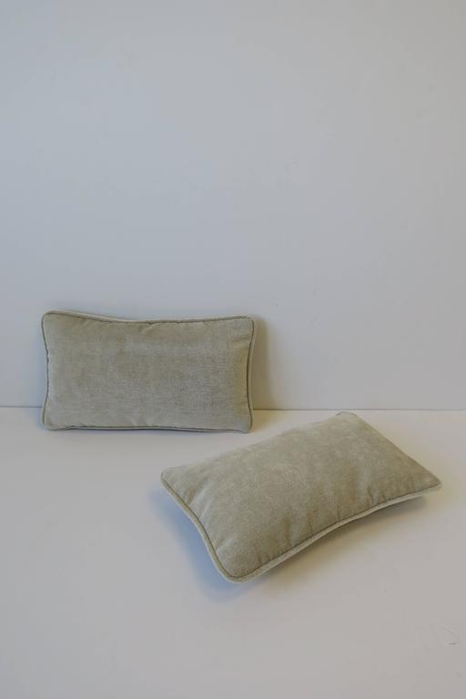Pair/Set Available Here for $375  A beautiful chic pair of custom upholstered rectangular accent or throw pillows with feather-down inserts and hidden zipper. Pillows are custom-made and have never been used. Material is a soft and plush material,