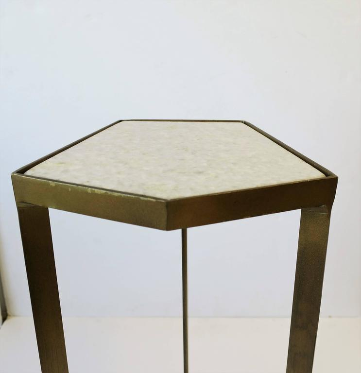 Minimalist Gold Side or Drinks Table with White Marble Top For Sale
