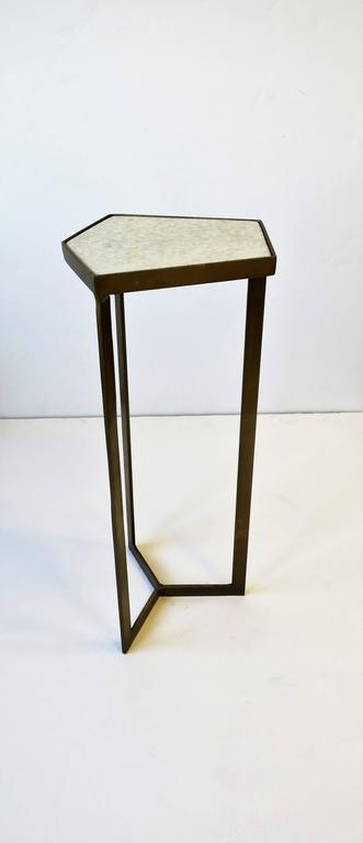 Powder-Coated Gold Side or Drinks Table with White Marble Top For Sale