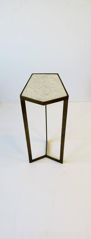 Contemporary Gold Side or Drinks Table with White Marble Top For Sale