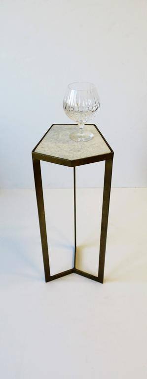 Granite Gold Side or Drinks Table with White Marble Top For Sale
