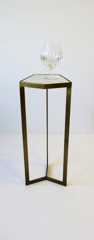 Gold Side or Drinks Table with White Marble Top For Sale 2