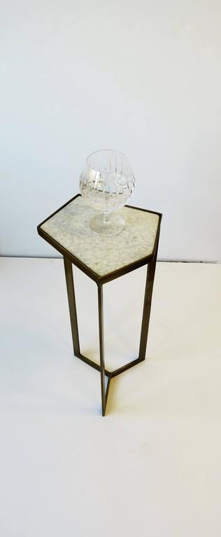Gold Side or Drinks Table with White Marble Top For Sale 3