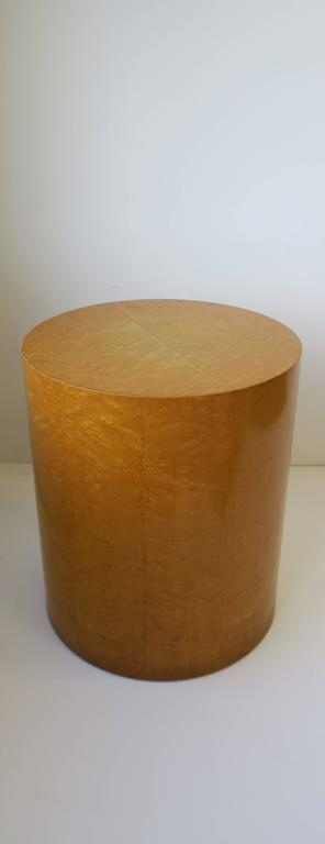Vintage Modern Round Pedestal Drum Side Table After Milo Baughman 2