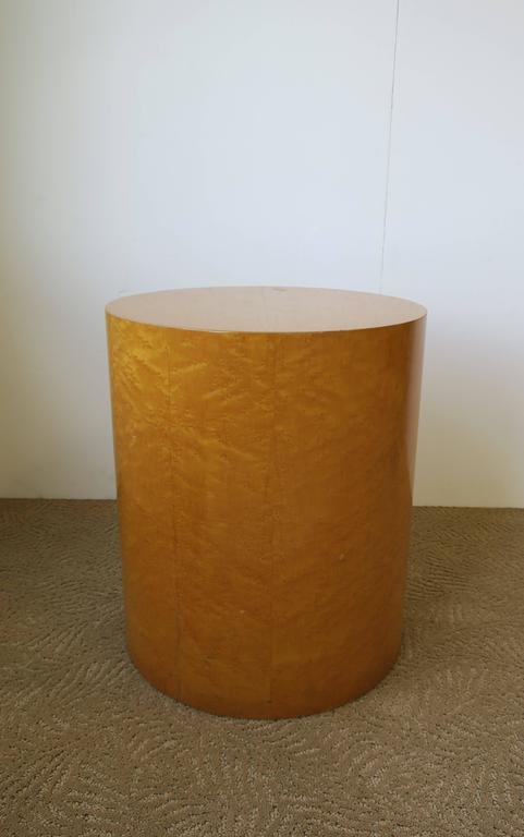 Vintage Modern Round Pedestal Drum Side Table After Milo Baughman 4