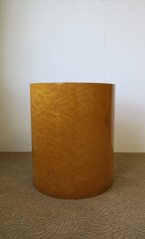 Vintage Modern Round Pedestal Drum Side Table After Milo Baughman 5