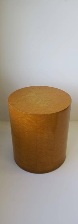 Vintage Modern Round Pedestal Drum Side Table After Milo Baughman 7