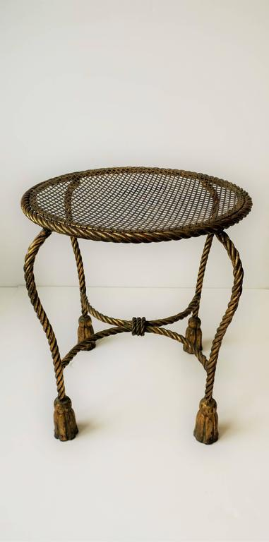 Mid-Century Italian Gold Gilt Stool or Vanity Chair 2