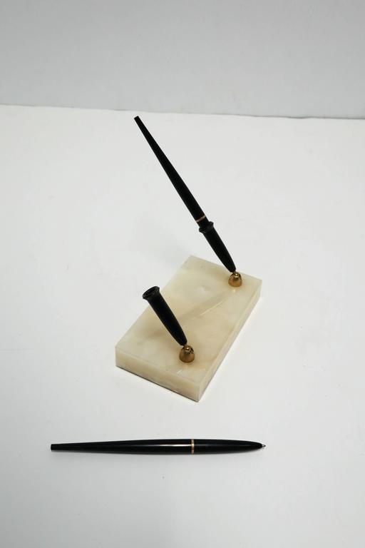 Vintage Modern Onyx Marble Pen Desk Set, 1970s In Excellent Condition For Sale In New York, NY