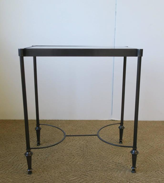 Small Side Or End Table With Black Granite Marble Top In