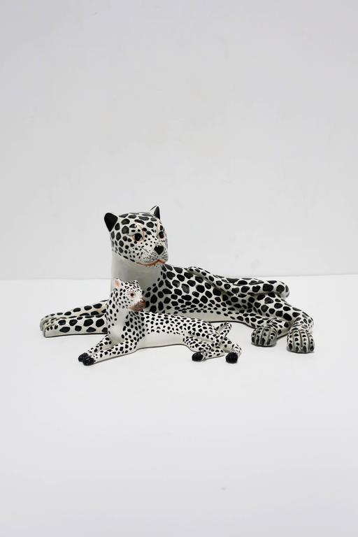 Glazed Large Italian Art Deco Black and White Cheetah or Leopard Cat Sculpture For Sale