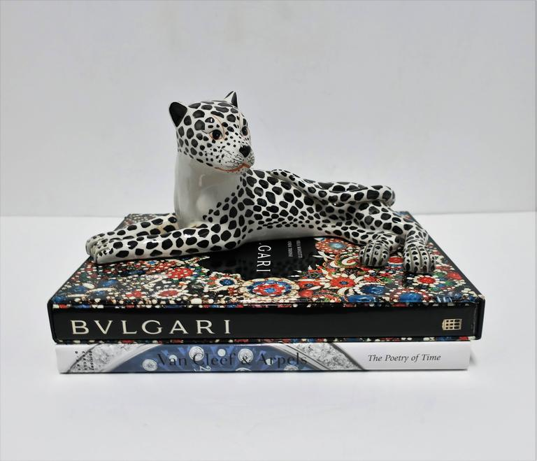 Large Italian Art Deco Black and White Cheetah or Leopard Cat Sculpture In Excellent Condition For Sale In New York, NY