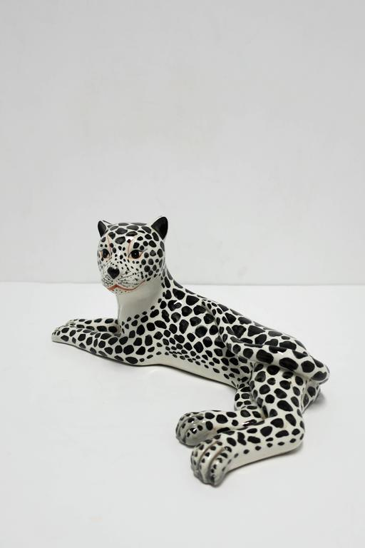 Porcelain Large Italian Art Deco Black and White Cheetah or Leopard Cat Sculpture For Sale