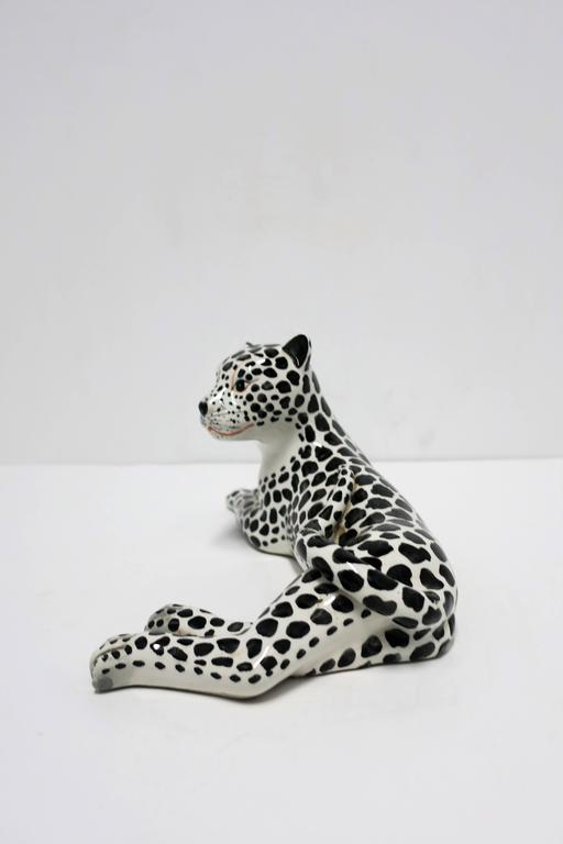Large Italian Art Deco Black and White Cheetah or Leopard Cat Sculpture For Sale 1