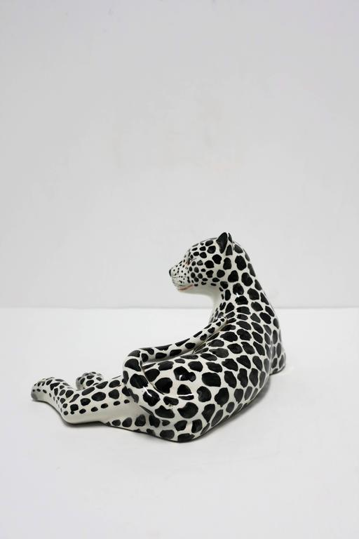 Large Italian Art Deco Black and White Cheetah or Leopard Cat Sculpture For Sale 2