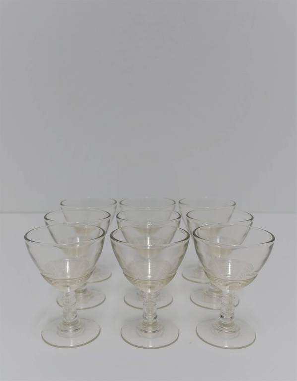 Set of 9 Modern Clear Glassware Set, 1920s For Sale 4