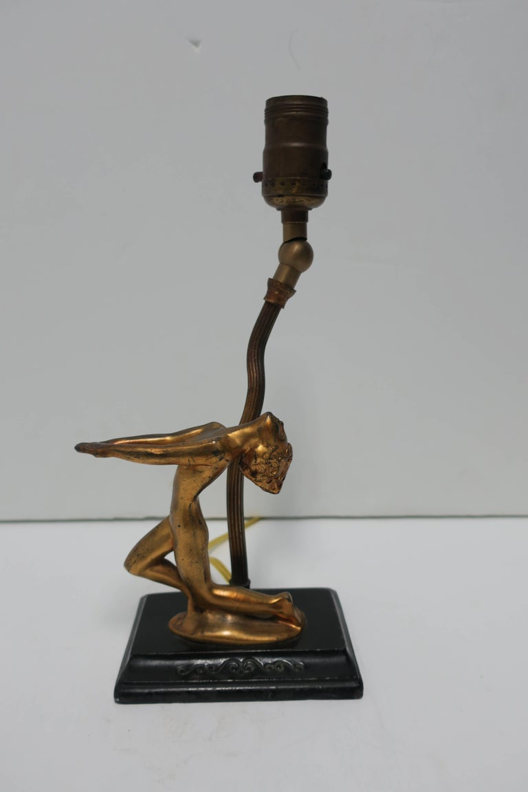 Metal Art Deco Period Black and Gold Female Sculpture Desk or Table Lamp For Sale