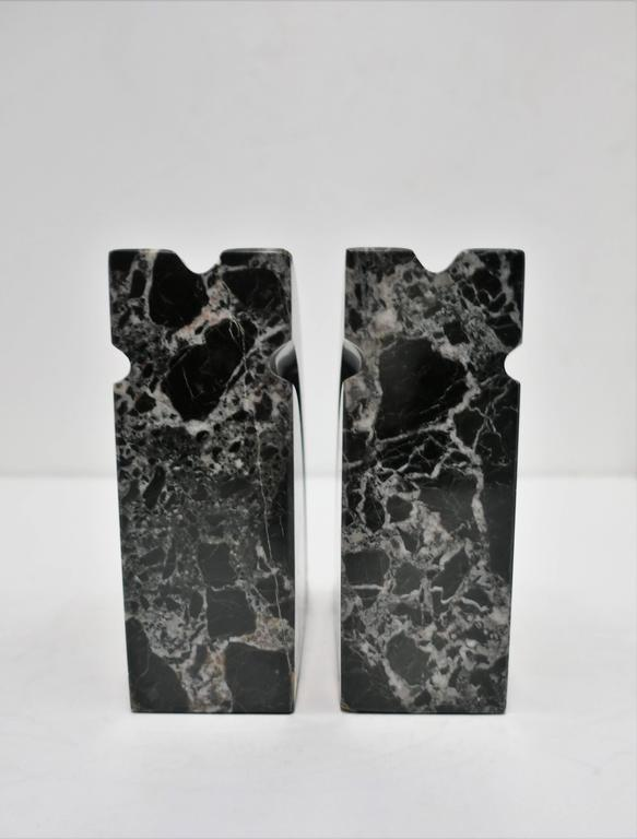 Pair Modern Black and White Marble Bookends, ca. 1970s For Sale 2
