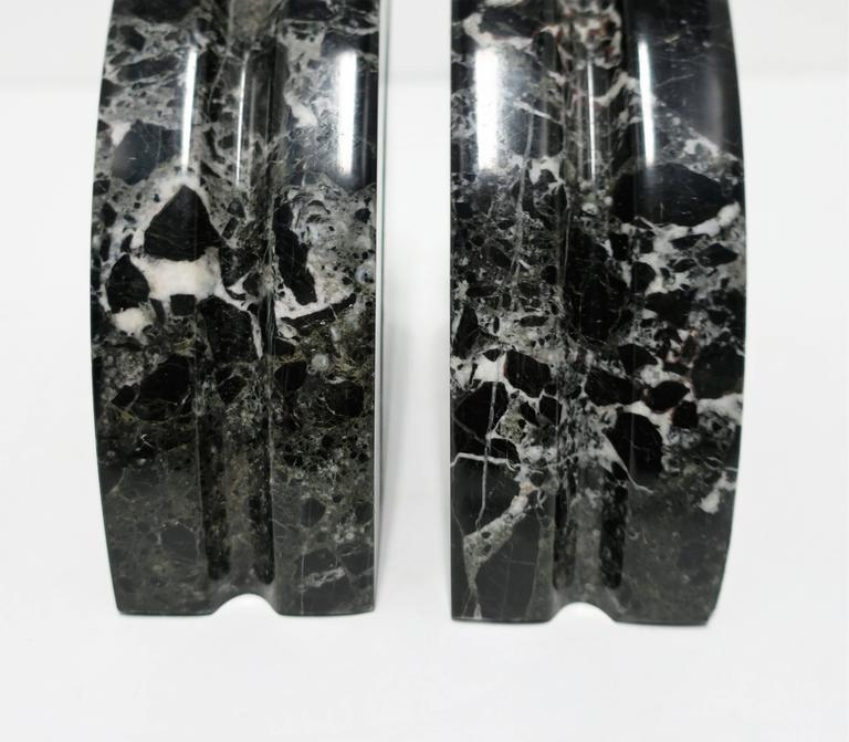 Pair Modern Black and White Marble Bookends, ca. 1970s For Sale 3