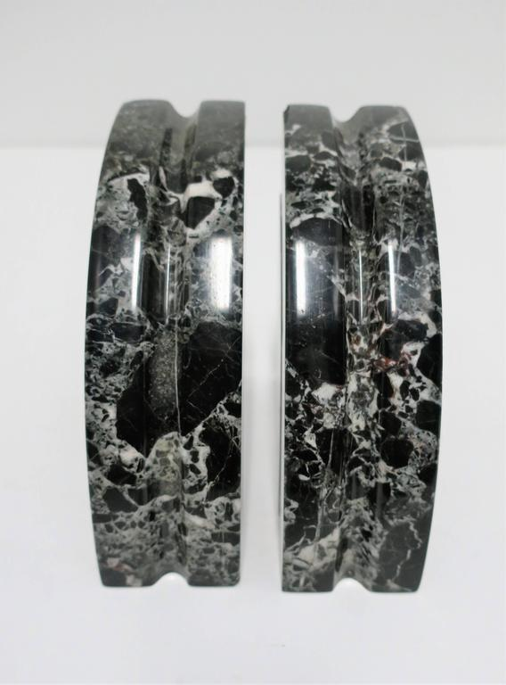Late 20th Century Pair Modern Black and White Marble Bookends, ca. 1970s For Sale