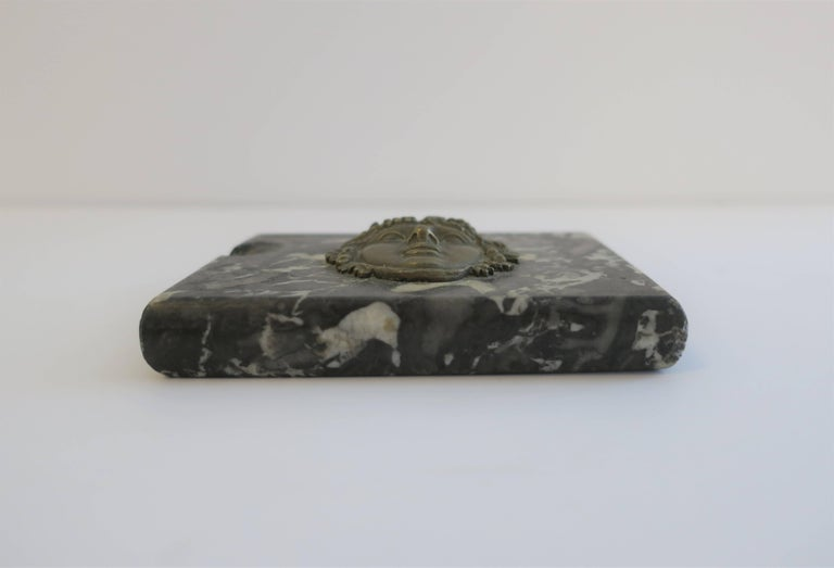 Italian Black and White Marble and Brass Sculpture Paperweight For Sale 2