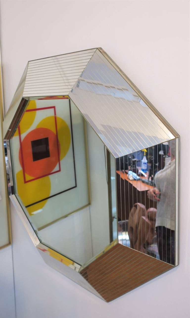 Post-Modern Modern Octagonal Wall Mirror in the Style of Karl Springer, ca. 1970s For Sale