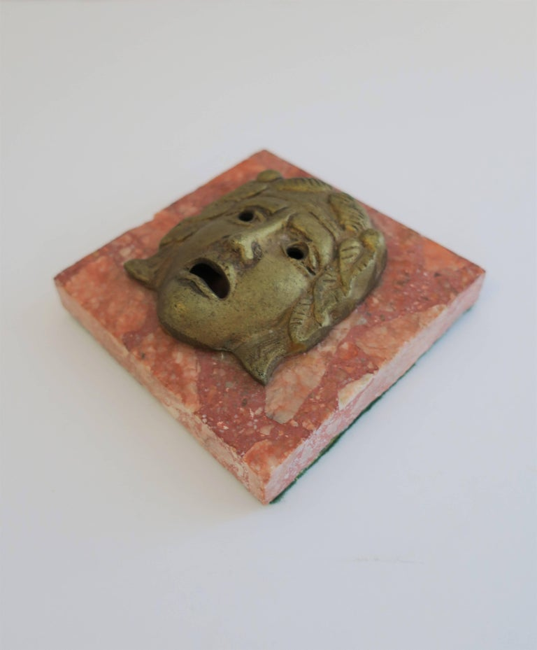 Classical Roman Italian Brass and Marble Sculpture Paperweight For Sale