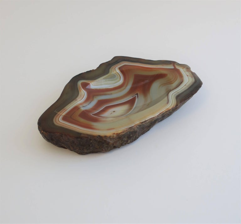 Organic Modern Vintage White and Orange Agate Onyx Vessel Bowl or Decorative Object For Sale