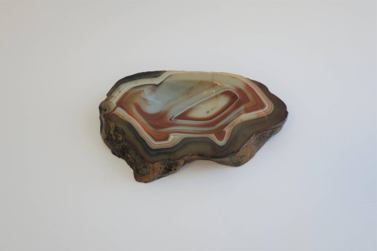 Vintage White and Orange Agate Onyx Vessel Bowl or Decorative Object In Good Condition For Sale In New York, NY