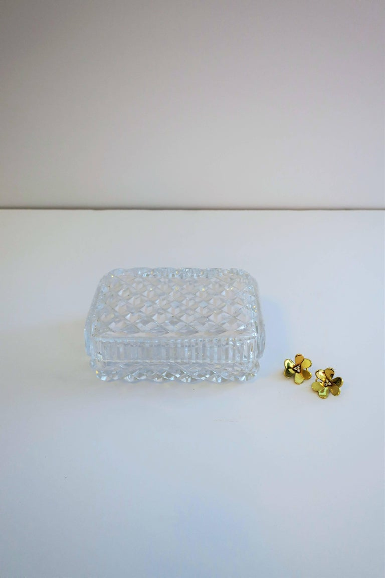 A beautiful crystal jewelry box with a diamond 'quilted' design . For jewelry or other small items.