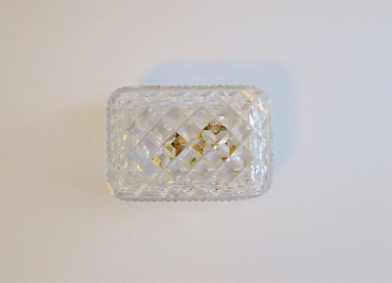 20th Century Vintage Diamond Quilted Crystal Jewelry Box For Sale