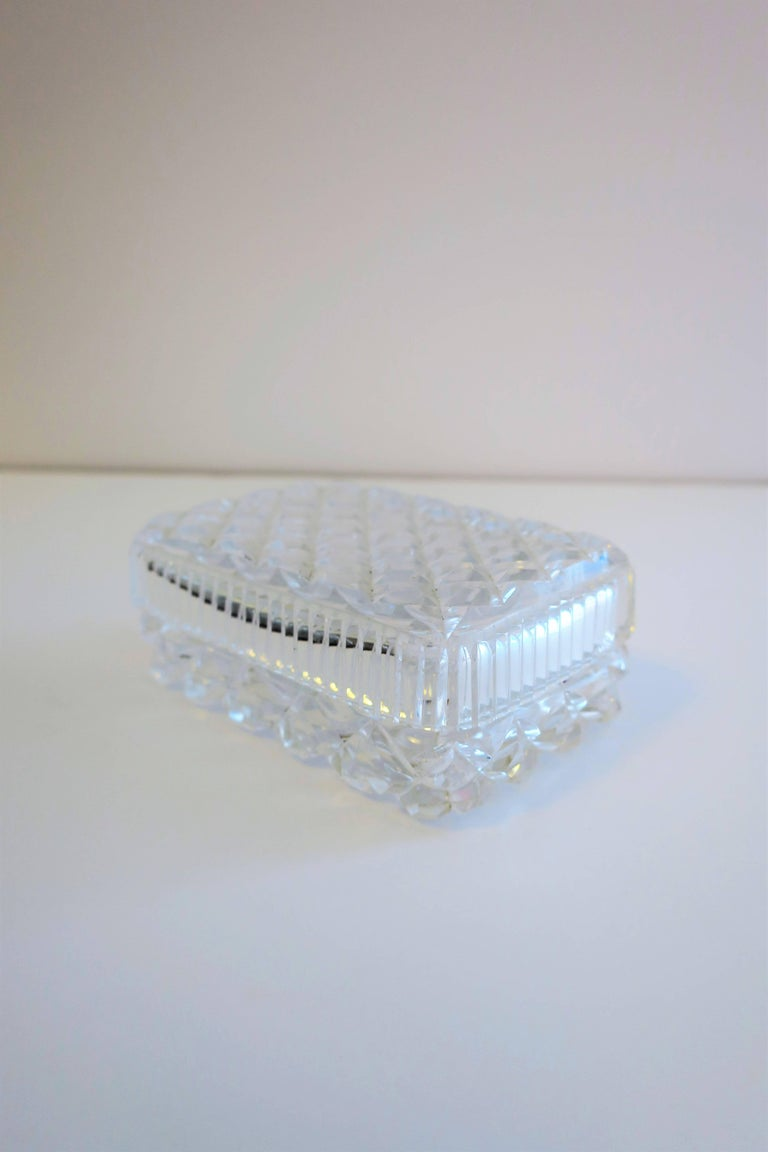 Vintage Diamond Quilted Crystal Jewelry Box For Sale 2