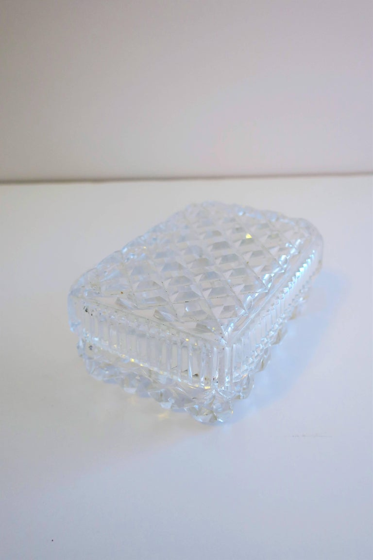 Vintage Diamond Quilted Crystal Jewelry Box For Sale 3